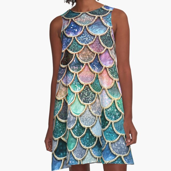 Teal, Silver and Pink Sparkle Faux Glitter Mermaid Scales A-Line Dress