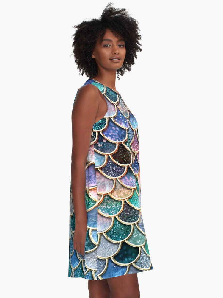 Alternate view of Teal, Silver and Pink Sparkle Faux Glitter Mermaid Scales A-Line Dress