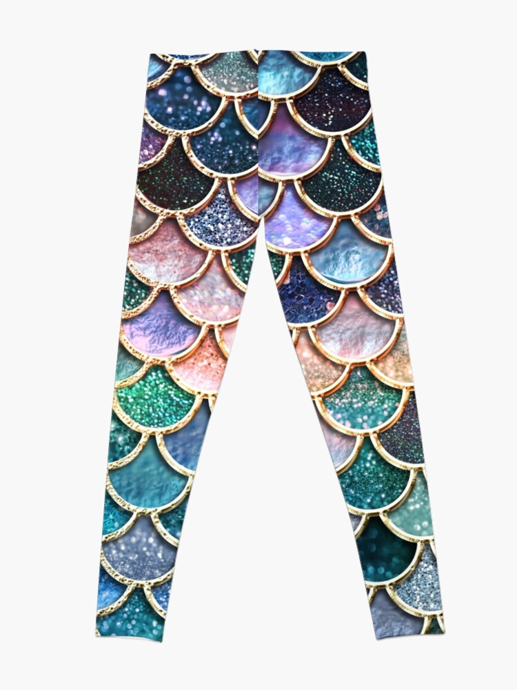 Alternate view of Teal, Silver and Pink Sparkle Faux Glitter Mermaid Scales Leggings