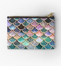 Teal, Silver and Pink Sparkle Faux Glitter Mermaid Scales Studio Pouch