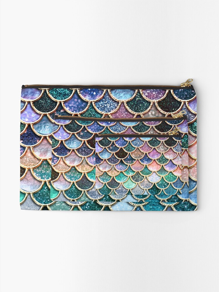 Alternate view of Teal, Silver and Pink Sparkle Faux Glitter Mermaid Scales Zipper Pouch