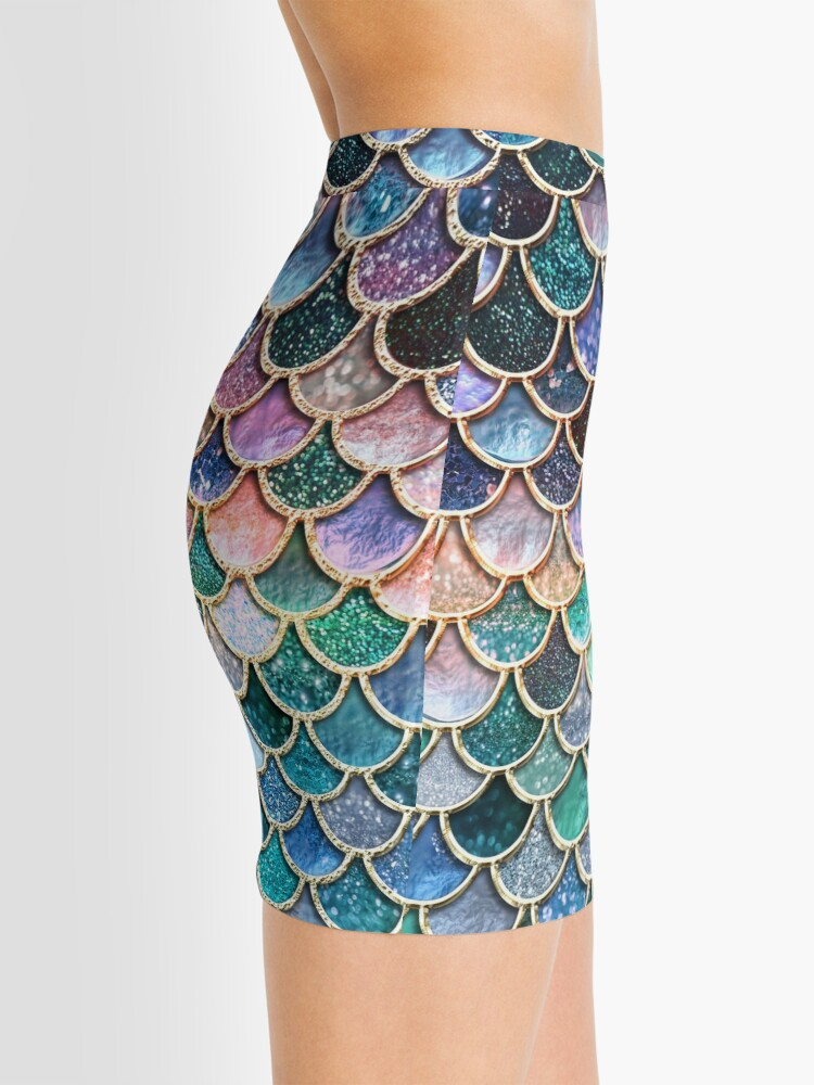 Alternate view of Teal, Silver and Pink Sparkle Faux Glitter Mermaid Scales Mini Skirt