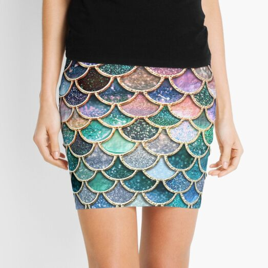 Teal, Silver and Pink Sparkle Faux Glitter Mermaid Scales Mini Skirt