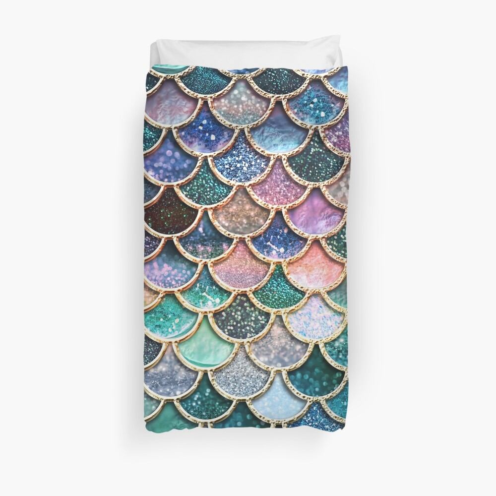 Teal, Silver and Pink Sparkle Faux Glitter Mermaid Scales Duvet Cover