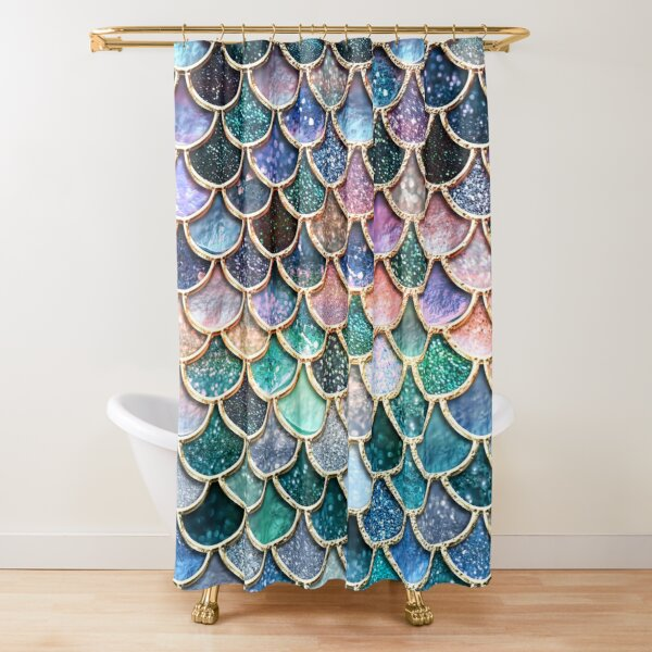 Teal, Silver and Pink Sparkle Faux Glitter Mermaid Scales Shower Curtain