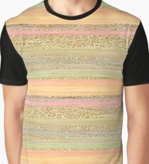 Coral Red Orange Lime Green Gold Glitter Stripes Pattern Graphic T-Shirt