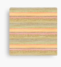 Coral Red Orange Lime Green Gold Glitter Stripes Pattern Canvas Print