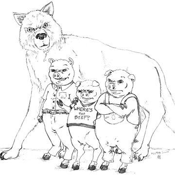 Three Pigs, One Wolf by muthmaniac