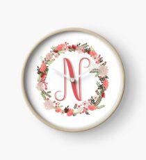 Personal monogram letter 'N' flower wreath Clock
