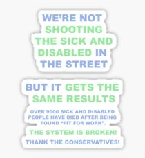 Tory Britain : Shoot the Disabled? (Shirts and Stickers!) Sticker