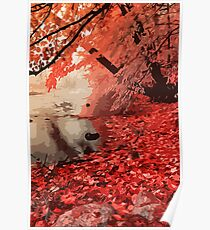 Red Forest River Poster