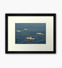 Multinational Navy ships move into formation during UNITAS 52 in the Atlantic Ocean. Framed Print