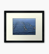 Aerial view of ships in formation during UNITAS 52 in the Atlantic Ocean. Framed Print