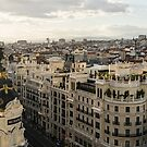 Madrid from Above - a Cityscape with Gran Via and the Famous Metropolis Building by Georgia Mizuleva
