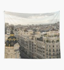 Madrid from Above - a Cityscape with Gran Via and the Famous Metropolis Building Wall Tapestry