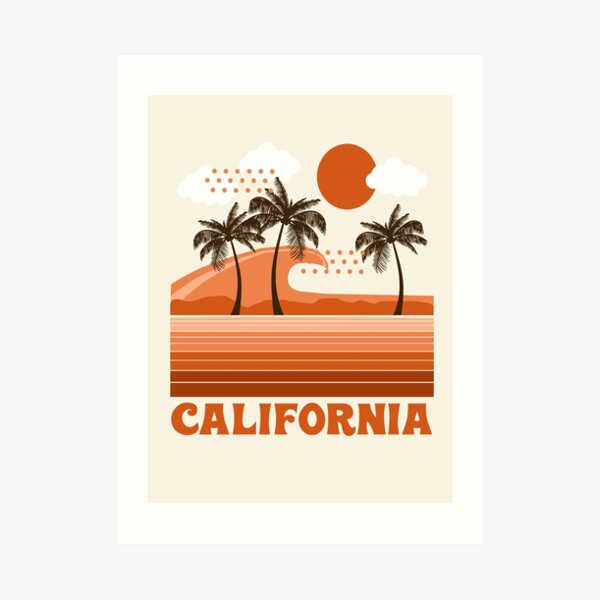 California - retro 70s 1970's sun surfing beach throwback minimal design by Seventy Eight Art Print