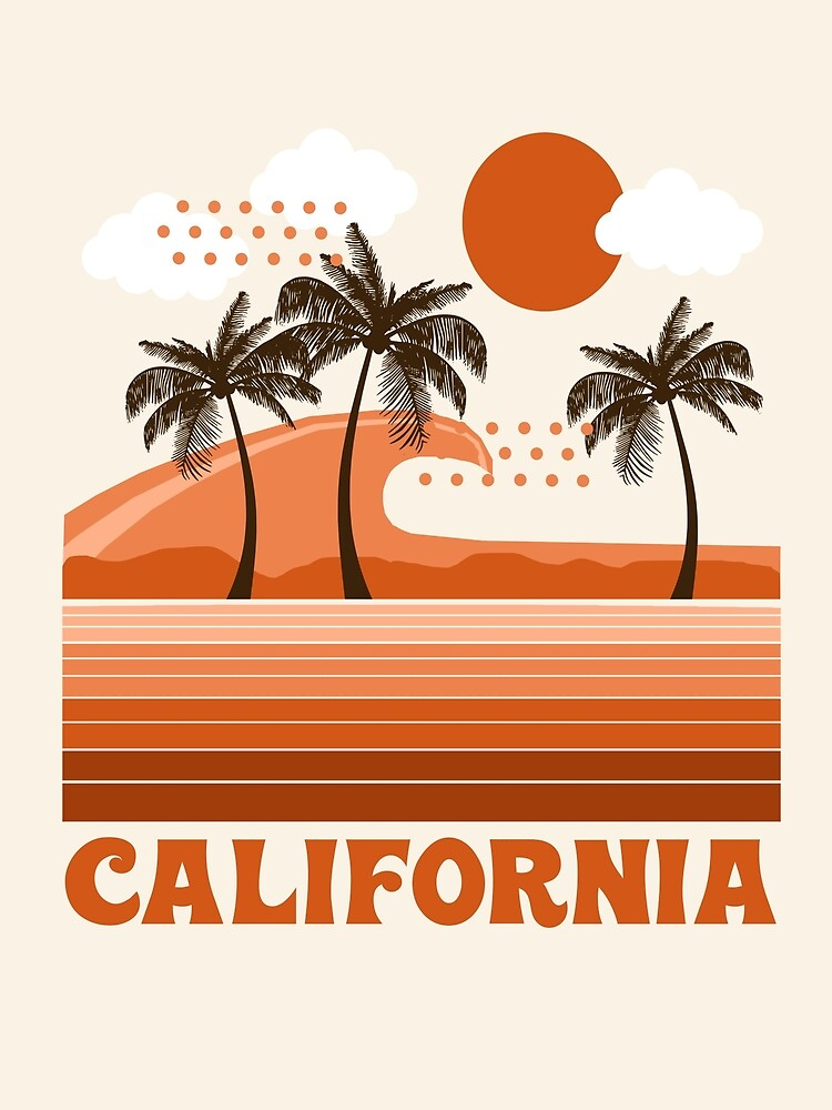 California - retro 70s 1970's sun surfing beach throwback minimal design by Seventy Eight by 78designs