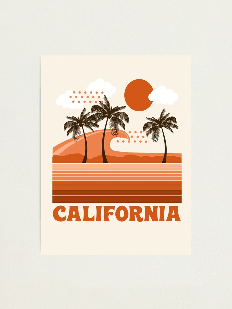 Alternate view of California - retro 70s 1970's sun surfing beach throwback minimal design by Seventy Eight Photographic Print
