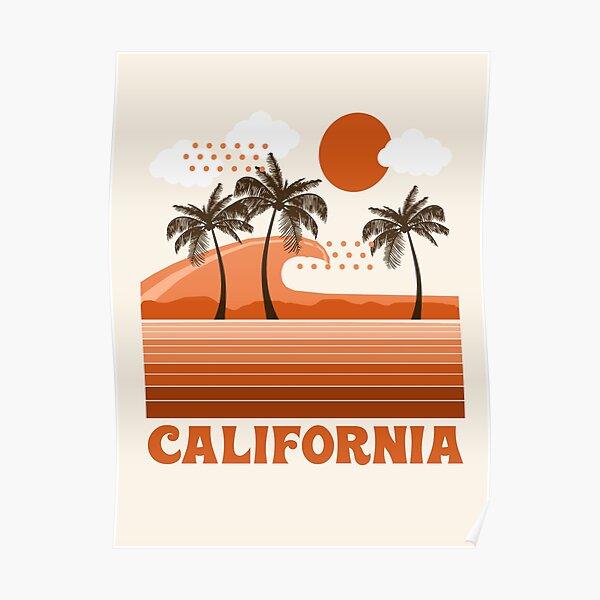 California - retro 70s 1970's sun surfing beach throwback minimal design by Seventy Eight Poster