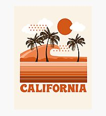 California - retro 70s 1970's sun surfing beach throwback minimal design by Seventy Eight Photographic Print