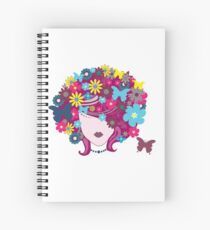 Funky Butterfly and Flower Hair Spiral Notebook