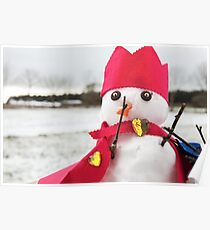 Cute snowmen dressed as a king with crown and cape Poster