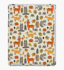 Woodland camping animal nature owl fox deer raccoon cute by andrea lauren iPad Case/Skin