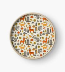 Woodland camping animal nature owl fox deer raccoon cute by andrea lauren Clock