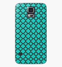 Black and Turquoise Quatrefoil Pattern  Case/Skin for Samsung Galaxy