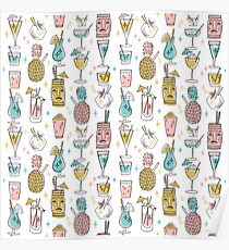Tropical cocktails tiki bar hawaiian drinks cute pattern by andrea lauren Poster
