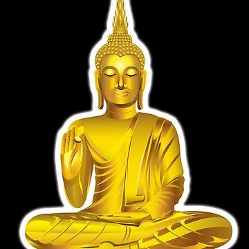 Buddha, Golden Buddha, Buddhist, Buddhism, on BLACK by TOMSREDBUBBLE