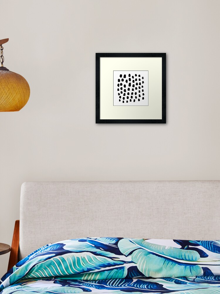 Abstract dots painted marbling polka dot pattern charlotte winter | Framed  Art Print