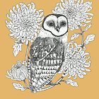 owl and chrysanthemums on orange brown background by EllenLambrichts