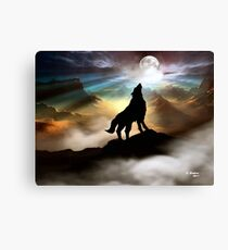 THE CANYON WOLF HOWLING AT THE FULL MOON Canvas Print