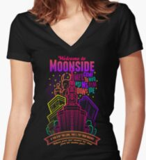 Welcome to Moonside Women's Fitted V-Neck T-Shirt