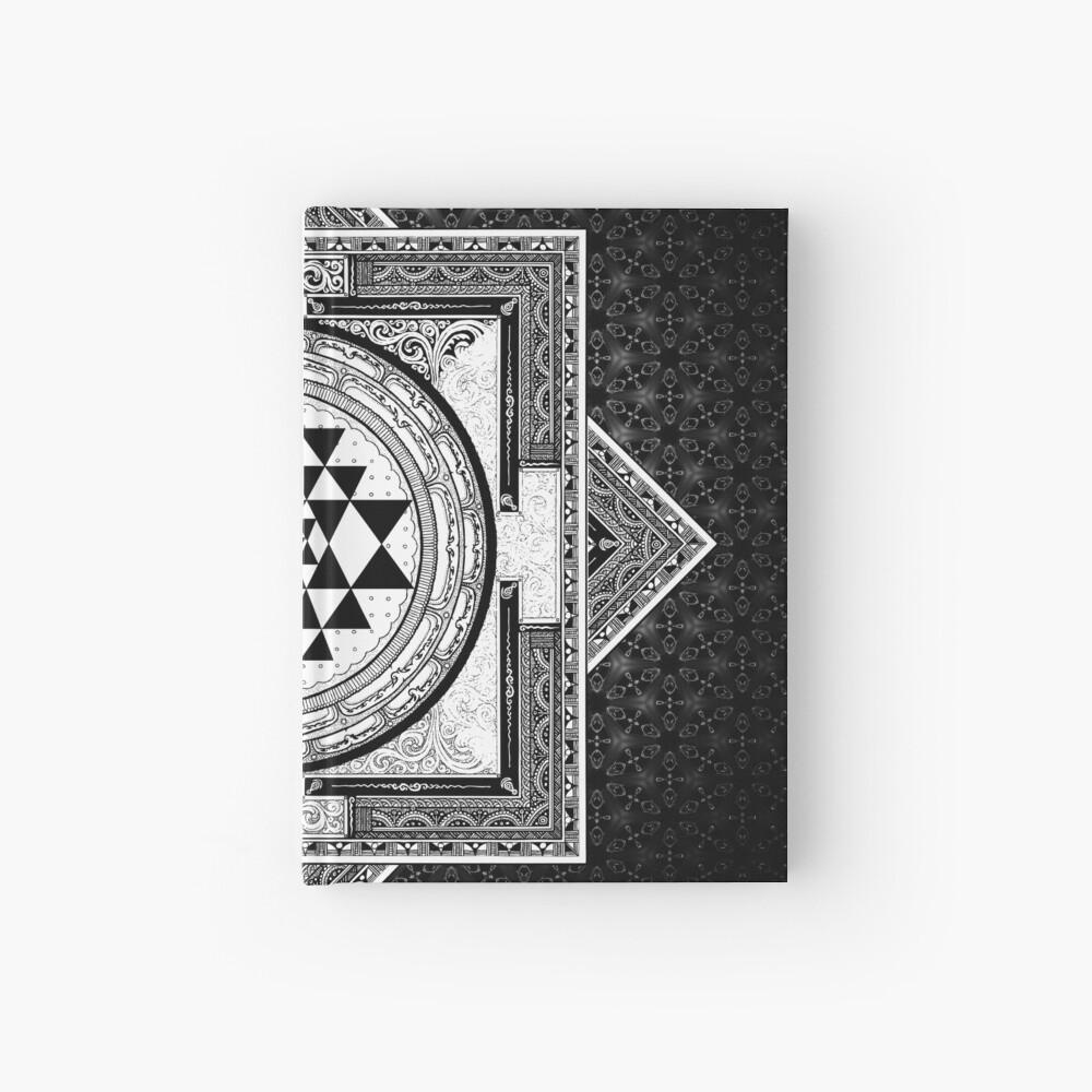 Sri Yantra Black & White Sacred Geometry Mandala Zen Bohemian Spiritual |  Hardcover Journal