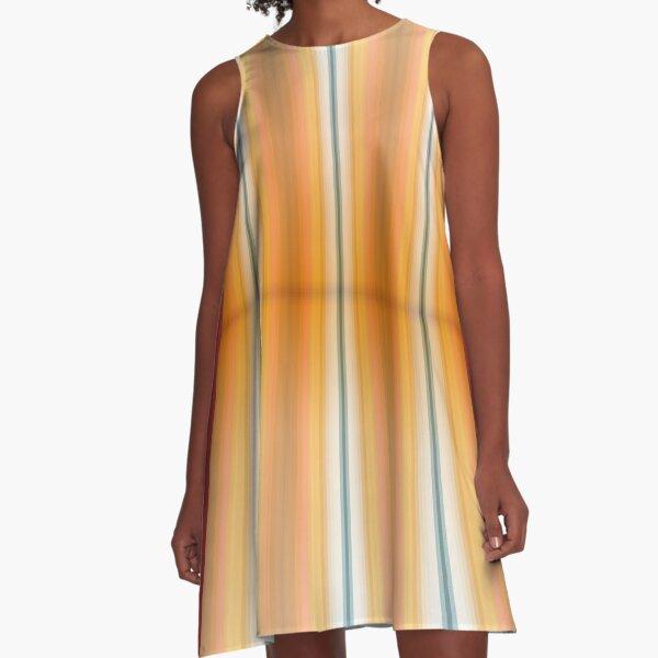 Gestreifte Leinwand eckig A-Linien Kleid