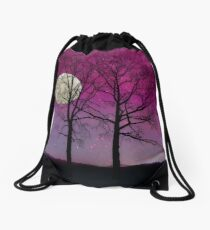 Solitude II Harvest Moon, pink opal sky stars Drawstring Bag