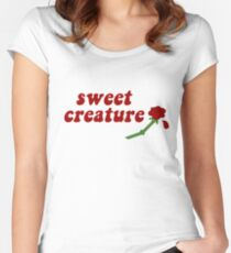 Sweet Creature Rose Design Women's Fitted Scoop T-Shirt