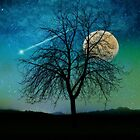 Solitude, Harvest Moon shooting star blue-green sky by Glimmersmith