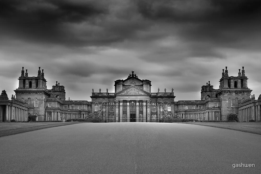 blenheim palace black and white by gashwen