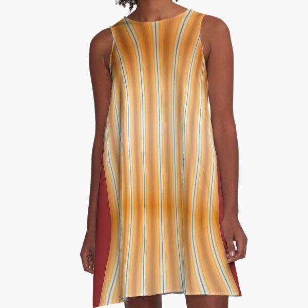 Gestreifte Leinwand rund doppelt A-Linien Kleid