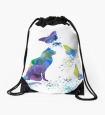 Watercolor Cat Art Drawstring Bag