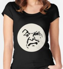 THE MAN ON THE MOON IS AN ANGRY MOFO Women's Fitted Scoop T-Shirt