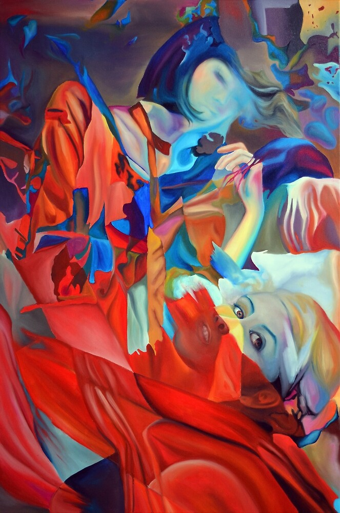 Within my heart a flame of desires, colorful abstract painting with fantasy girls. by oanaunciuleanu