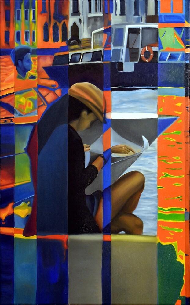 Venetian scene, 50-80cm, 2016, oil on canvas by oanaunciuleanu