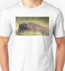 Bison resting in the Grass Unisex T-Shirt