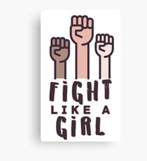 Fight Like A Girl with pink border  Canvas Print