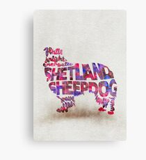 The Shetland Sheepdog Typographic Watercolor Painting Canvas Print
