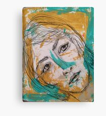 Gold & Teal Sketch Canvas Print